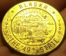 Buy Alaska 1959 38.5mm~Becoming The 49th State~Souvenir Dollar~Free Shipping
