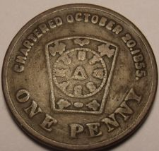 Buy Mahoning Chapter#66 Warren Ohio Chartered 1855 Masonic One Penny~Free Shipping