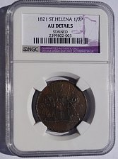 Buy 1821 Saint Helena & Ascension 1/2 Penny World Coin - NGC AU Details