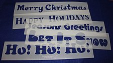"""Buy 5 Pc Set Holiday Message Stencils 14 Mil Mylar-5"""" x 23.5 Painting/Crafts/Stencil"""