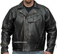 Buy Mens BIKER Black NAKED Leather BRAIDED Vented PISTOL PETE Motorcycle Jacket