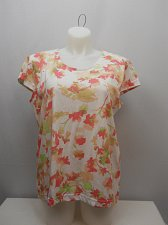 Buy SIZE XL Women Knit Top ADRIAN DELAFIELD Coral Floral Scoop Neck Cap Sleeves