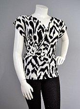Buy Women Knit Top SIZE 1XL2XL 3XL Animal Print Surplice V-Neck Cap Sleeves
