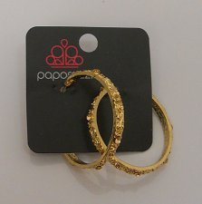 Buy Women Fashion Hoop Earrings Rhinestones Gold Tones Push Back Fasteners PAPARAZZI
