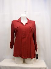 Buy Womens Top SIZE XL STYLE&CO Solid Plum Tart Long Tab Sleeves Collared V-Neck