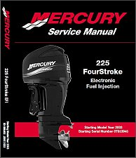 Buy 2003 and up Mercury 225 EFI 4-Stroke Outboard Motor Service Manual on a CD