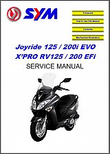Buy SYM Joyride 125 / 200i EVO - X'PRO RV125 / 200 EFi Scooter Service Manual on CD