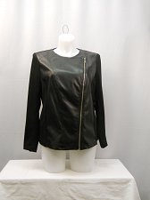 Buy PLUS SIZE 1X Motorcycle Jacket NOTATIONS Black Faux Leather Front Long Sleeve