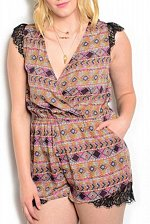 Buy SIZE 1XL 2XL Womens Surplice Romper ANGELA Multi Geometric Lace Trim Cap Sleeves