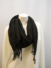 Buy Womens Scarf Size 70X26 Solid Black Soft Wrap Fringed All Occasion Shawl