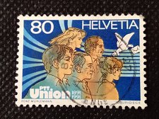 Buy Switzerland 1V USED STAMP 1991 people & carrier pigeon PTT Union