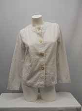 Buy Womens Linen Blazer SIZE S Solid Off White Long Sleeve Buttons