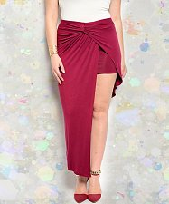 Buy PLUS SIZE 1XL 2XL Womens Skirt FINESSE Burgundy Asymmetrical Hem Twisted Front