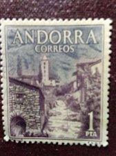 Buy Andorra Spanish 1963 2v used Stamp santa coloma, church, mountains