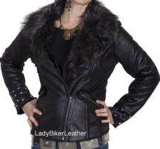 Buy Ladies BIKER Black NAKED Lamb Leather FAUX FUR Lapels/Lined MOTORCYCLE Jacket