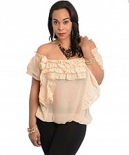 Buy SIZE S L Women Sheer Top 7COLORS Beige Ruffled Square Neck Batwings Off Shoulde