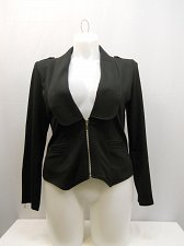 Buy Women Jacket Solid Black Long Sleeve SIZE M Collar Neck Zip Closure Lt.Weight