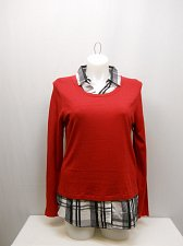 Buy SIZE 2XL 20 Womens Twofer Sweater FADED GLORY Red Knit Plaid Collar Long Sleeves