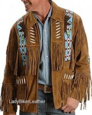 Buy Mens EAGLE BEADED Brown OR Black SUEDE Leather WESTERN TRIBAL FRINGE Jacket