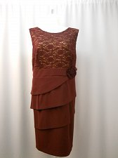 Buy PLUS SIZE 24W Women Formal Dress Tiered Solid Burgundy Scoop Neck Sleeveless