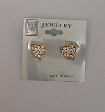 Buy Women Earrings Fashion Stud Hearts Rhinestones Gold Tones Push Back PLUS ONE