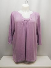 Buy PLUS SIZE 2X Women Knit Top Solid Lilac Pleated U-Neck ¾ Sleeves SUZIE CONTURE