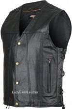 Buy The GAMBLER Black Leather CONCEALED CARRY Motorcycle Vest w/GOLD Hardware LACES