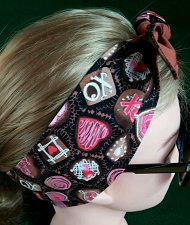 Buy Headband Hair Wraptie Hearts Chocolate Candies Print 100% Cotton hand made