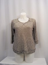 Buy Womens Sweater Plus Size 0X INC Grey Beaded Shoulders Scoop Neck 3/4 Sleeves