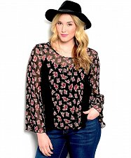 Buy PLUS SIZE 1XL 2XL 3XL Womens Sheer Top Floral Lace Insert Back Ties Split Back