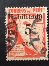 Buy Peru 1v Used Stamp Highway Map of Peru - overprint 5c on 10c scarlet