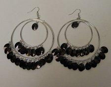 Buy Women Fashion Earrings Drop Dangle Silver Hoops Black Beads FASHION JEWELRY Hook