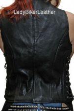 Buy Ladies Biker SOFT Black PREMIUM Leather ZIP Motorcycle CLUB Vest LACES or PLAIN