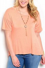 Buy PLUS SIZE 1X 2X 3X Womens Knit Top ROMAN Peach Necklace Hi-Lo Split Back Short S