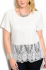 Buy Womens Top PLUS SIZE 1XL Soild White Scoop Neck Short Sleeves Lace Overlay