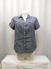 Buy Womens Top KAREN SCOTT PLUS SIZE 0X Blue Chambray Polka Dot Short Sleeve Collar