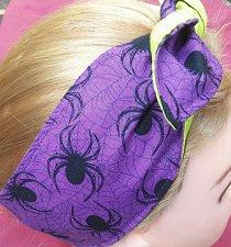Buy Headband hair wraptie bandana purple w/black spiders 100% Cotton hand made