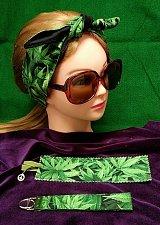 Buy 3 piece set Headband bookmark key fob cannabis print 100% Cotton