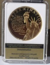 Buy Remembering 9/11 24k Gold Plated Proof 40mm Medallion~Determination
