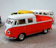 Buy 1963 Volkswagen Bus Double Cab Pickup Diecast Orange Scale:1/34,free shipping