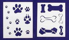 Buy Dog Bone/Paw Prints 2 Piece Set -Mylar 14 Mil Painting/Crafts/Template