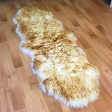Buy DOUBLE size Genuine wolf tip Sheepskin Rug or Throw, approx 200 cm x 75 cm