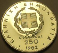 Buy Silver Proof Greece 1982 250 Drachmai~European Games~Shot Put~Free Shipping