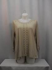 Buy Women Knit Top Plus Size 2X Solid Beige STYLE&CO Jeweled 3/4 Sleeves Scoop Neck