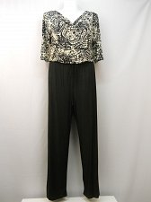 Buy SIZE XL Jumpsuit EMMA & MICHELE Black Paisley Cowl Neck Wide Leg 3/4 Sleeves