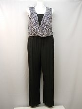 Buy SIZE XL Women Jumpsuit EMMA & MICHELE Black Surplice Overlay Sleeveless Wide Leg