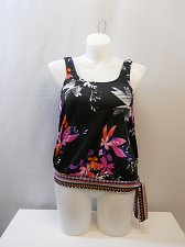 Buy SIZE 14 Women Tankini Swim Top BEACH BELLE Windflower Blouson Scoop Neck Tie