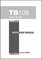 Buy Takeuchi TB108 Compact Excavator Service Workshop Manual on a CD -- TB 108