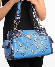 Buy HANDBAG PURSE Womens SHOULDER BAG Navy Blue Heart Donut Studs Faux Leather