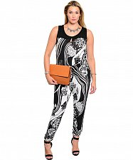 Buy Size 3XL Womens Jumpsuit JANETTE PLUS Black White Floral Sleeveless Scoop Neck
